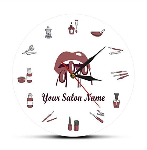 hutianyu Schoonheidssalon Nagel Spa Studio Aangepaste Wandklok Pedicure Salon Gereedschap Kunstwerk Gepersonaliseerde Manicure Naam Stille Kwarts Wandklok