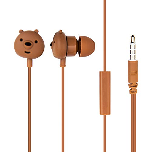 MINISO We Bare Bears in-Ear Wired Headphones with Microphone, Comfortable Earbuds Cute Earphones for Mobile Smartphones Apple Xiaomi Realme Oppo Samsung and More – Brown