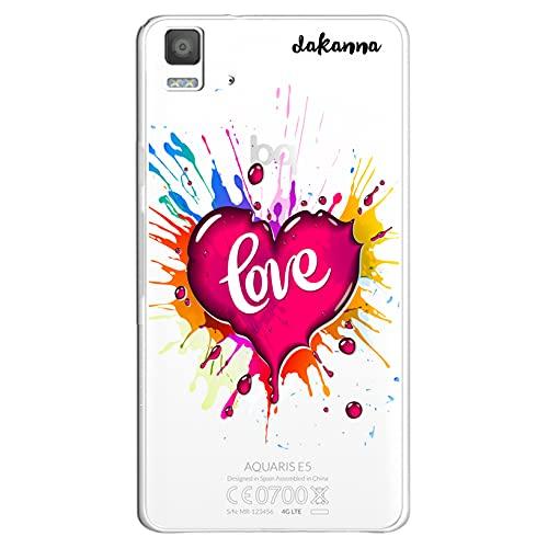 dakanna Funda para [ Bq Aquaris E5 4G - E5S ] de Silicona Flexible, Dibujo Diseño [ Corazón Watercolor con Frase Love ], Color [Fondo Transparente] Carcasa Case Cover de Gel TPU para Smartphone