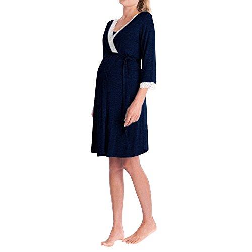 Topgrowth Abbigliamento Premaman Madre Pizzo Abito Casual Vestito maternità Donna Pizzo Incinte Pigiama Abiti da Notte Vestito Pigiami (Marina Militare, XL)