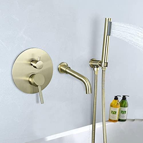 Set de Ducha Aspersor de Pared Oculto con Manguera de 1,5 m de Mezcla Caliente para Baño (Color : Brass)