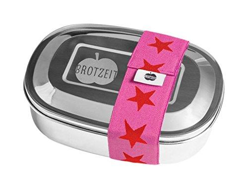 Zauberspiel Brotzeit- Lunchbox Brotdose uno Edelstahl mit Sternen Band- Geschenk Schulanfang, 16x11x4cm, Rot
