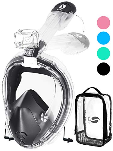 2020 Snorkel Mask Full Face 180° Seaview Foldable Easy Breathing Fog Free No Leaking with Camera Mount Earplugs Dry Bag for Adult Youth Kid