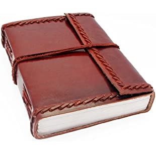 Large Stitched Leather Journal Notebook 135 x 185mm