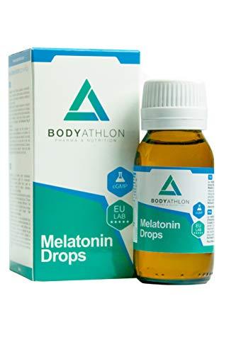 Bodyathlon – Gouttes de mélatonine pure – Endormissement rapide – Effet rapide et durable – Sommeil profond et réparateur – Bien dormir – Dosage facile – Arôme citron – Produit vegan