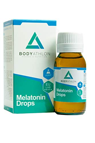 Bodyathlon –Melatonina pura gotas– Rápida conciliación del sueño –Efecto rápido y duradero- Sueño profundo y reparador – Duerme bien- Fácil dosificación – Sabor limón – Producto Vegano