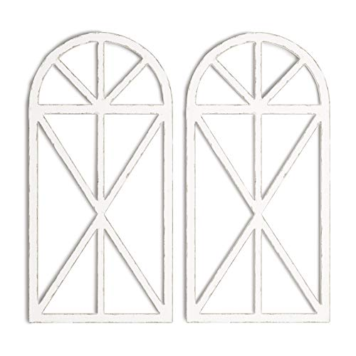 """Barnyard Designs Rustic Wood Window Frame Wall Decor, Decorative Wooden Cathedral Arch, Farmhouse Wall Art Home Decoration, Distressed White Finish, 31.5"""" x 15.75"""" x 1"""" (2 Pack)"""