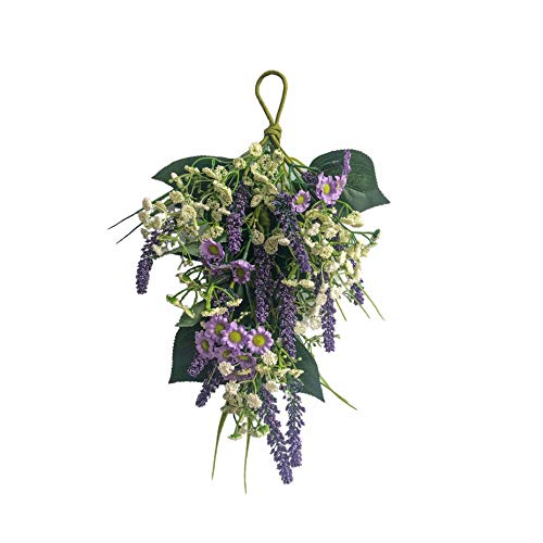 NeoL'artes Artificial Lavender Daisy Floral Swag Wreath for Spring Summer Door, Home Decor Weddings, Door Hanging and Lambs Ear Wreath