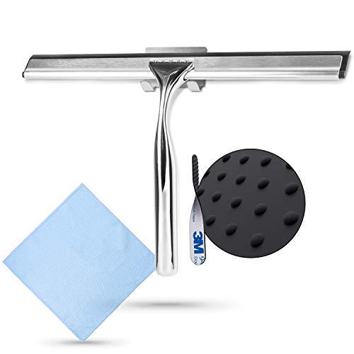 VABAX Duschabzieher Edelstahl - Hochwertiger Duschwandabzieher mit Mikrofasertuch - Streifenfreier Glasabzieher inkl. Aufhängung - Rutschfester Abzieher für Fenster und Dusche