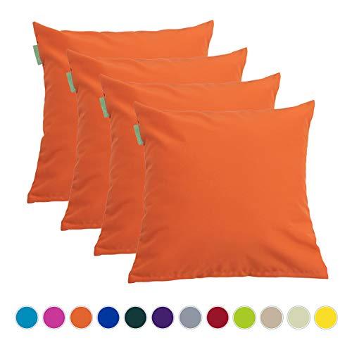 Gardenista Wasserfestes Deko Kissen Schaumkrumen Füllung für Gartenmöbel | 45 cm x 45 cm Outdoor Kisse | Bequem und Dekorativ | 4er Packung (Orange)