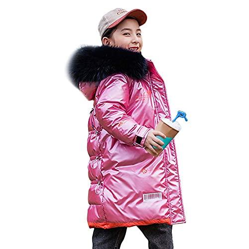 Chaqueta con capucha con capucha para niños, brillante grueso sólido a prueba de viento, chaqueta de invierno acolchada, chico, chico, chico, abrigo, abrigo, rosa, 130 cm ( Color : Pink , Size : 160 )