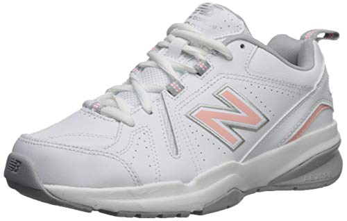 New Balance Women's 608 V5 Casual Comfort Cross Trainer, White/Pink, 7 W US