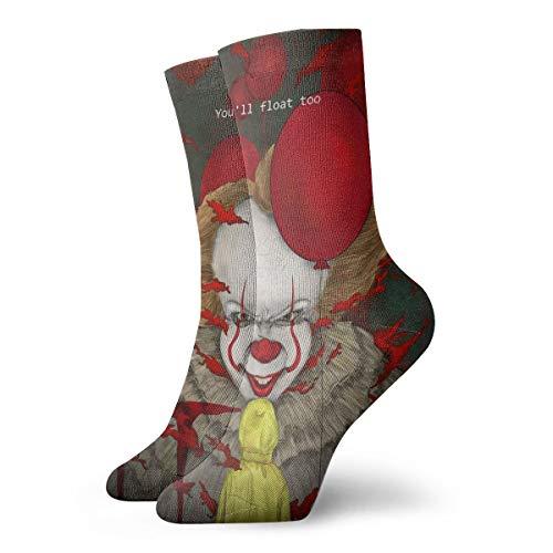 Film Art Horror Scary Clown It Blood Antílope de dibujos animados Avatar para hombres y mujeres con pies sensibles, ajuste ancho, calcetines y calcetines atléticos de algodón
