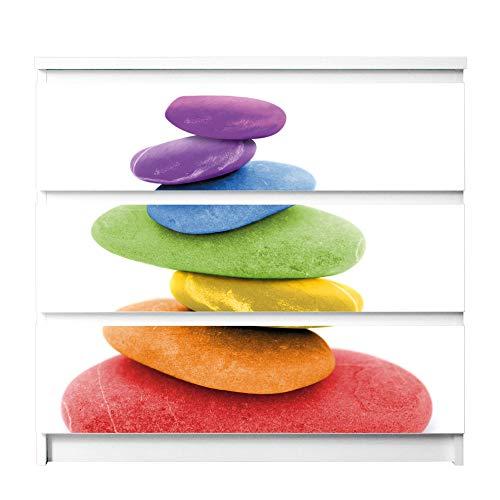 banjado Möbelaufkleber für Kinder-Zimmer   Selbstklebende Möbelfolie passend für IKEA Malm Kommode   Wandtattoo Deko mit Design Coloured Stone für 3 Schubladen