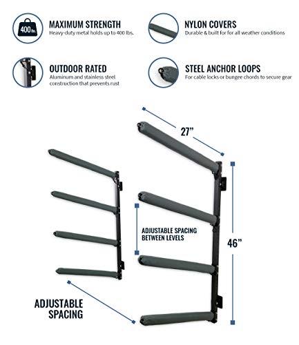 StoreYourBoard Outdoor 4 Kayak Storage Rack, Wall Mount, Holds 400 lbs, All Weather Heavy-Duty Metal Organizer, Adjustable Levels