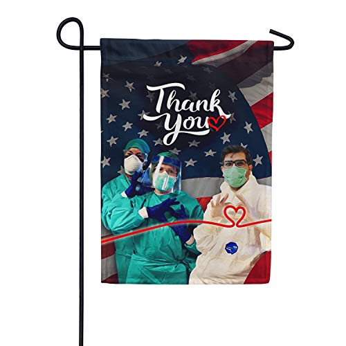 America Forever Flags Double Sided Garden Flag - Thanks to Lifeline of Our Nation - 12.5' x 18', Thank You Healthcare Workers, Fight Against Covid-19 Coronavirus Pandemic Flag, Yard Outdoor Décor