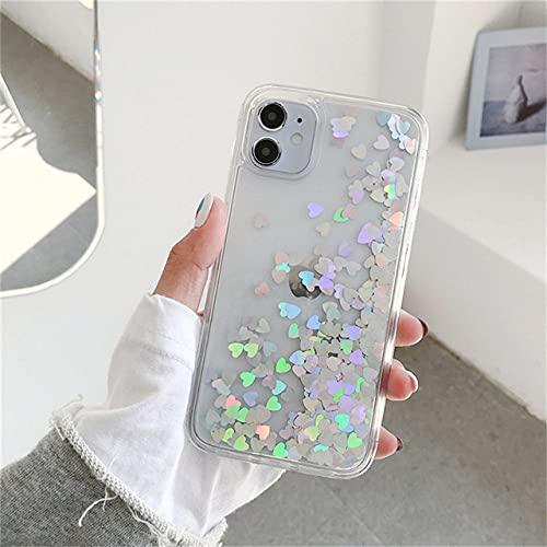 DEIOKL Glitter Love Heart Sequins Quicksand Funda para teléfono para iPhone 12 11 Pro MAX XR XS MAX X 8 7 Plus, T1, para iPhone SE 2020