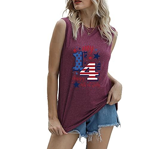 """Mayntop Camiseta de manga corta para mujer con diseño de bandera de Estados Unidos con texto en inglés """"God Bless"""" para el 4 de julio, B-Vino, 36"""