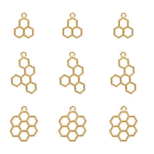 PandaHall Elite 90 piezas de 3 tamaños de panal abierto colgante de marco hueco hueco para bricolaje marco de metal para hacer joyas de resina y manualidades