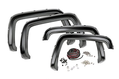 Rough Country Pocket Fender Flares (fits) 07-13 Chevy Silverado 1500 | 5.8 FT Bed | Bolt on Style | Flat Black |F-C10715