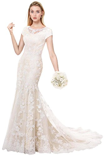 MILANO BRIDE Modest Wedding Dress for Bride Short Sleeves Sheath Floral Lace-8-Light Champagne