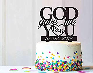 Personalized Initials GOD Gave You and Me Wedding Birthday Party Cake Topper Rustic Unique Cake Topper Personalize Custom Design C0233K
