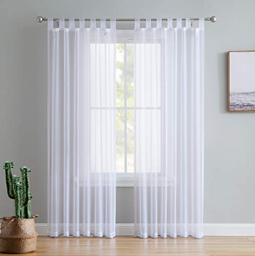 HLC.ME White Tab Top 54 inch x 84 inch Long Window Curtain Sheer Voile Panels for Living Room & Bedroom, Set of 2