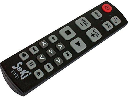 SeKi DVD schwarz lernfähige Universal-Fernbedienung mit großen Tasten - für Senioren + Kinder