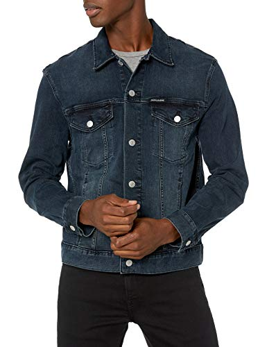 Calvin Klein Men's Denim Trucker Jacket, Black Unicorn, 2X-Large