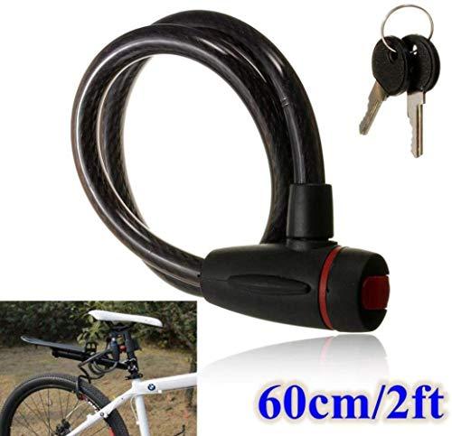 BWJL Universale 60 Centimetri Moto Cavo Nero Pesante in Acciaio antifurto blocca Spiralschloss con 2 Chiavi del motorino del Motociclo della Bici