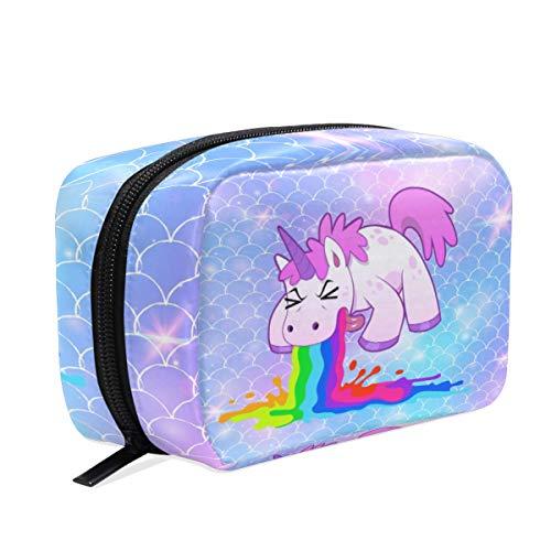 Divertido Estuche de Maquillaje con diseño de Unicornio y Escamas de Sirena, para Viajes, para Guardar artículos de tocador, para Mujeres y niñas