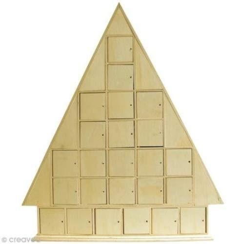 Artemio - Calendario de Adviento (43,5 x 51 x 7 cm, Madera sin Tratar), diseño de casa, Color Beige