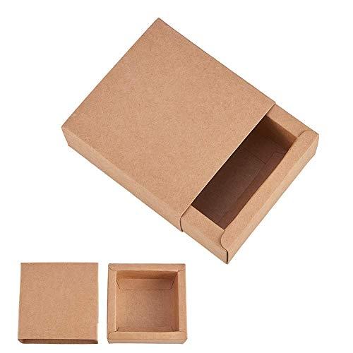 BENECREAT 20 Pack Scatole di Cartone Kraft 8.3x8.3x3.3cm Scatole Regalo di Festa Pacchetto Bomboniere, Matrimonio, Natale - Marrone