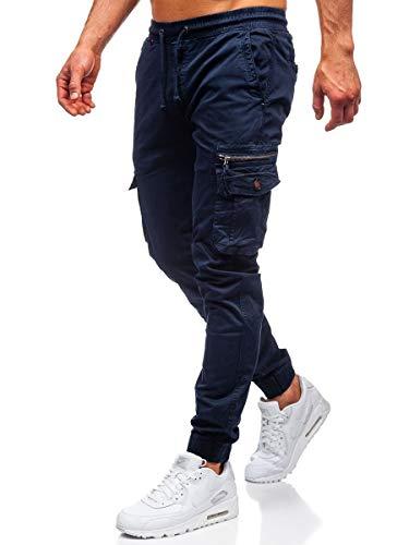 BOLF Herren Jogginghose Cargohose Sporthose Trainingshose Jogger Sweathose Fitnesshose Jogpants Fußballhose Sweatpants Beinabschluss Pants Baumwolle Slim Fit CATENVIN CT6702 Dunkelblau S [6F6]
