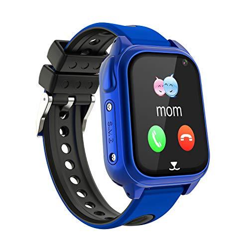 Impermeable GPS Smartwatch para Niños, IP67 Impermeable Reloj inteligente Phone con GPS LBS Tracker SOS Chat de voz Cámara Podómetro Juego Watch Niño niña Compatible con iOS Android (SS8-Blue)