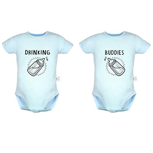 Twins Baby Drinking Buddies Funy Slogan Digital Print Rompers, Newborn Baby Bodysuits, Infant Jumpsuits, Baby Unisex Novelty Outfits, Pack of 2 (6-12 Months, Blue)