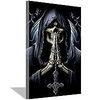 死神とクロスポスター、キャンバス壁画印刷、ホームウォールアートデコレーションギフト20x30cm(8x12inch)内枠