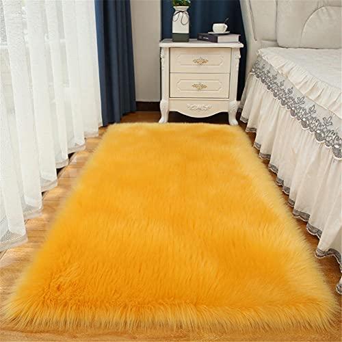 Pelo Largo Lavables Couleur Unie Alfombra Salon Grandes Shaggy Antideslizante Super Suave Pelo Largo Fluffy Alfombra para la Decoración de Salas de Estar y Dormitorios Amarillo 100x160cm