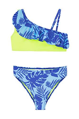 IKALI - Conjunto de bikini de dos piezas para niñas, traje de baño con volantes y diseño de flamencos, traje de baño deportivo infantil para la playa Azul azul 10-12 Años