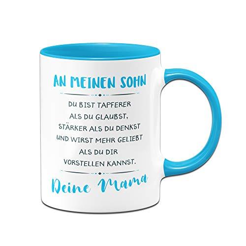 Tassenbrennerei Tasse mit Spruch An Meinen Sohn von Mama - Geschenk für Sohn, Tassen mit Sprüchen (Blau)