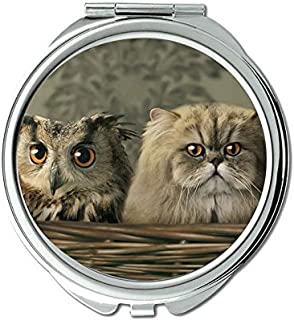 Mirror,makeup mirror,Cute abstract cat owl mirror for Men/Women,1 X 2X Magnifying
