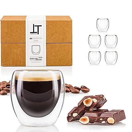 Tempery ✮ Tazas Cafe Doble Pared / Vasos Térmicos Cafe Premium Espresso - 80ml - Juego 6 Taza de Cafe - Taza Vidrio de Café Original & Transparente y Regalo Perfecto para Cualquier Ocasión