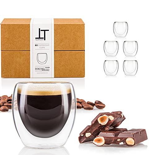 Tempery✮ Bicchieri Caffe Vetro a Doppia Parete - 8 cl - Set di 6 Tazzine da Caffè in Vetro a Doppia Parete - Tazze Caffe Vetro Originale & Moderne e Regalo Perfetto per Ogni Occasione
