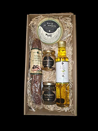 Trüffel Geschenkset aus Istrien, Kroatien. Trüffelöl, Kuhmilchkäse mit Trüffel, Trüffelsalami, Honig mit weißen Trüffel, Tartufata