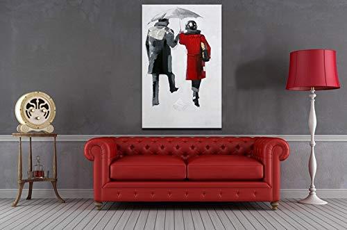 ZHUAIBA Pintura Al Óleo Pintada 1 Pieza Imagen Hombre y Mujer con Paraguas Moderno Hogar Decoración de Pared Pintura Al Óleo Abstracta sobre Lienzo para sala de estar 100% Hecho A Mano 20X30