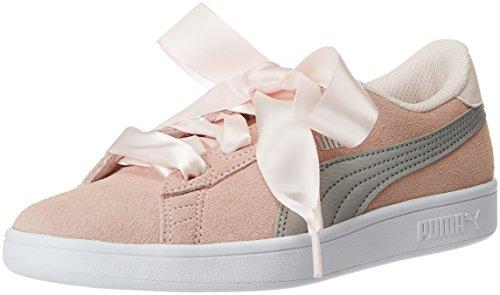 Puma Smash V2 Ribbon Jr, Sneakers Basses Fille, Rose (Pearl Silver), 38 EU