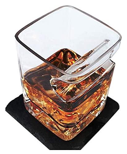 QJTZ 4 unids Whiskey Glass Free Flow Classic con cigarro para los Amantes del Cigarrillo de cigarros Vidrio de cigarro Ultra Claro 0511