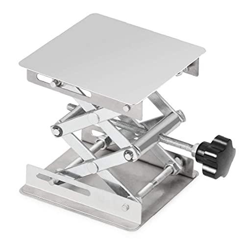 GGOOD Laborschere Stand Edelstahl-Lift-Stand-Tabelle 100x100mm Holzbearbeitungs-Plattform Max Höhe 160mm Silber Hardware-Werkzeuge, handbetätigte Werkzeuge