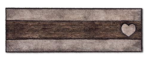 ASTRA flauschig-weiche Sauberlaufmatte Pure & Soft – Schmutzfangmatte bunt – Türmatte Innen – strapazierfähige Fussmatte – 50x150cm (Farbe: Holz Herz Sand-braun)