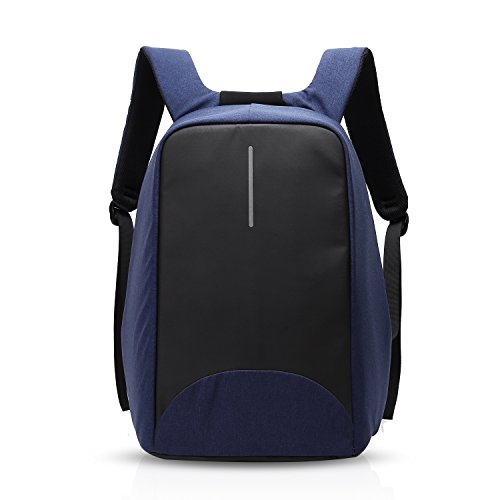 FANDARE Mode Anti-Diebstahl Rucksäcke 15.6 Zoll Laptop Geschäft Stoßfest Notebook Reisetaschen Schultasche Wanderrucksäcke USB Port Wasserdicht Polyester Blau